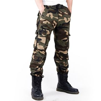 Men's Cargo Pant Baggy Casual Men Tactical Pant Multi Pocket Military Overall Male Outdoors Long Trouser Army Camouflage