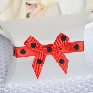 20 Self Adhesive Grosgrain Ribbon w/ Bows Polka Dot Red & Black 5mm weddings, baby shower, birthday gifts