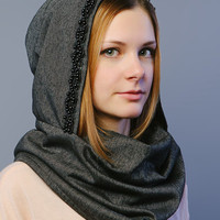 Women fashionable scarf with hood decorated by faux pearl / Scarves for women / Decorated scarf / Unique scarf gift