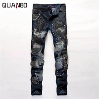 2017 New Arrival Designer Pants Fashion Embroidery Spliced Patchwork Punk Rock Star Rock nightclubs singers Jeans Slim