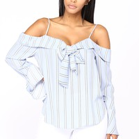 Always On My Mind Off Shoulder Top - Blue/White