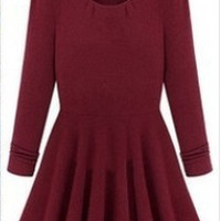 Red Wine Long Sleeve A-Line Pleated Dress