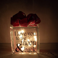 Love You to the Moon and Back Glass Block Night Light