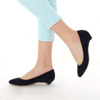 Fashion Simple Round Closed Toe Black Suede Flats