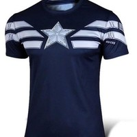 Deep Blue Captain America Short Sleeve T-Shirt