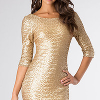 Short Gold Sequin Party Dress by Ruby Rox