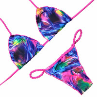 OMKAGI 2017 Colorful Sexy Bikini Brazilian Bikini Set Halter Swimwear Women Bandage Swimsuit New Low Waist Padded Feminino Bathing Suit