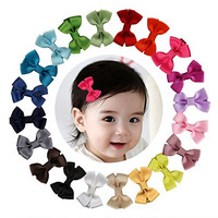 """Shemay™ 2"""" Tiny Solid Hair Bow Clip Barrette for Little/Baby Girl Toddler,20pcs"""