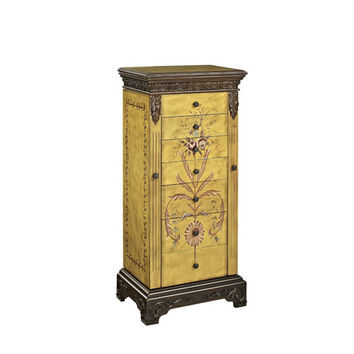 Powell  582-314 Masterpiece Antique Parchment Hand Painted Jewelry Armoire