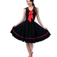 Black Sweet Sails Swing Dress - Unique Vintage - Prom dresses, retro dresses, retro swimsuits.