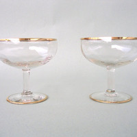 Two Glamorous Vintage Champagne /// Cocktail Glasses with Golden Edges