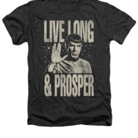 Mens Star Trek Live Long and Prosper Vintage Heather Premium Spock T-Shirt
