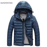 Warm Men's Down Jackets Slight Waterproof Casual Outerwear Snow Coats Thick Hooded Duck Down Jacket For Man