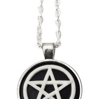 Women's Pentacle Cameo Necklace - Silver Plated 18