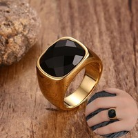 Black Carnelian Stone Signet Ring for Men Gold-Color Stainless Steel Square Pinky Rings Band Vintage Male Jewelry