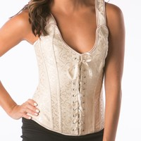 Lace Over Bust Corset tops cream white