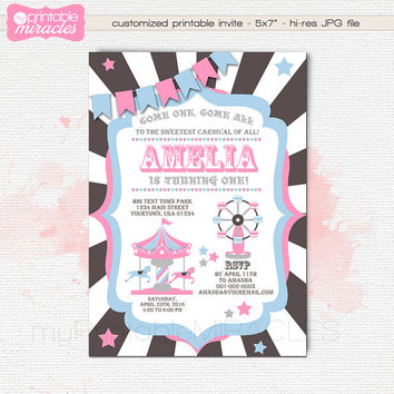 Printable carnival invitation, Pink amusement park invite, Carnival birthday party