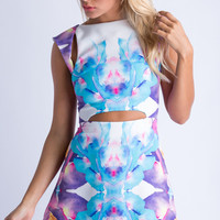 Confused Florals Bodycon Dress in White - Popcherry