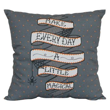Halloween Make Every Day a Little Magical Indoor Outdoor Throw Pillow (Grey)