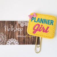 Pink Yellow Glitter Planner Girl Planner Clip| Paper clips| Planner Accessory| Journal Marker| Bookmark| Teachers| Friends| Gifts