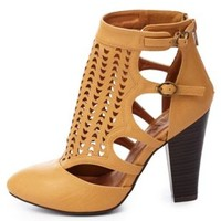 Qupid Laser Cut-Out Closed Toe Chunky Heels by Charlotte Russe - Tan
