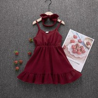 Summer Toddler Baby Girls Party Dress Ruffle Solid Sundress Clothes Outfits 1-6Y