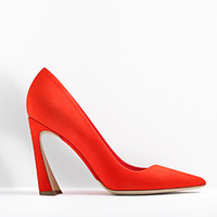 SLIGHTLY POINTED PUMP VERMILLON SUEDE CALFSKIN, 10.5 CM