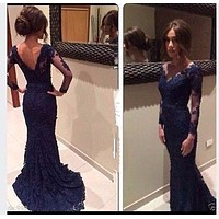 2017 Navy Blue Lace long  bridesmaid dresses With Sheer Long sleeves Mermaid Prom Gowns In Stock