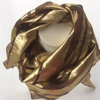 Gold Brown Silk scarf, Gold stripes shawl, Holiday scarf,  Gift for her, Brown silk chiffon, Birthday gift, Coworker  Teacher Mother Gift