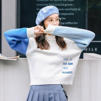 Casual Female Korean Harajuku Contrast Embroidered Letter Sweater Women's Sweaters Japanese Harajuku Ulzzang Clothing For Women