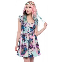 Adorable Juliet Dress from Iron Fist with skull & flower pastel & gothic print