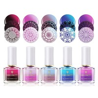 BORN PRETTY 6ml Thermal Nail Stamping Polish Color Changing Nail Art Plate Printing Nail Polish 12 Colors Nail Polish Lacquer