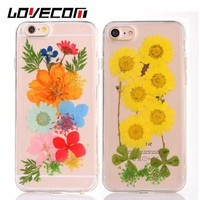 LOVECOM DIY Handmade Natural Real Dried Flowers Phone Case For iphone 6 6S 7 7 Plus 5 5S SE Clear Soft TPU Back Cover Coque