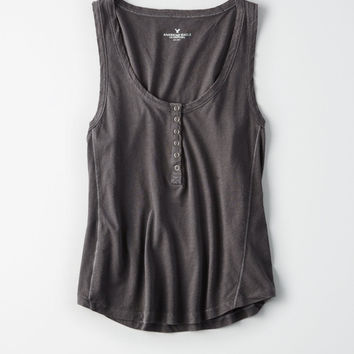 AE SOFT & SEXY DESTROY HENLEY TANK TOP, Black