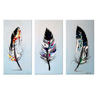 Contemporary Colored Feathers Canvas Wall Art Oil Painting