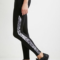 Contrast Marble Print Performance Leggings