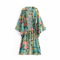 Print Beach Cardiga Tie Waist Belt Kimono Women Loose Casual Long Cardigan Coat
