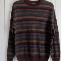Striped Sweater Wool Blend Crewneck Pullover Sweater, Mens Size Large, Maroon Blue Green Gold, Warm Colors, Hipster Preppy, Australia - Edit Listing - Etsy