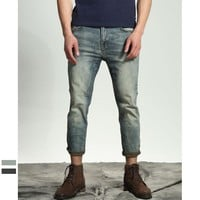 Men's Fashion Ripped Holes Rinsed Denim Weathered Jeans [10422070851]