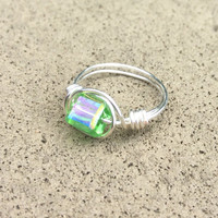 Green ring, wire wrapped cube ring, silver plated, custom size