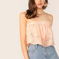 Frill Trim Schiffy Tube Top
