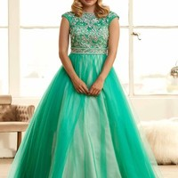Ball Gown Short Sleeves Bateau Tulle Applique Floor-Length Dresses - Prom Dresses 2015 - Prom Dresses - Sweet Dressy