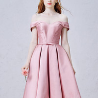 Pink Off Shoulder Cross Back Bow Waist Homecoming Dress