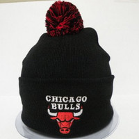 Adidas NBA Chicago Bulls Logo Team Black Cuffed Retro Knit Beanie Cap with Pom