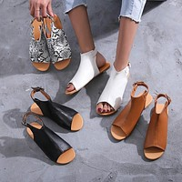 Summer new style flat sandals large size women's shoes fish mouth sandals