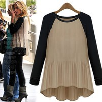 Slim spell color round neck long-sleeved T-shirt ABAGCE