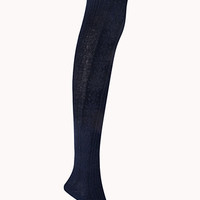 FOREVER 21 Classic Ribbed Sweater Tights Navy