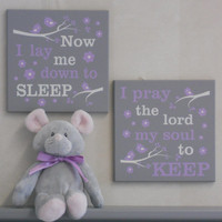 Baby Girl Nursery Purple / Gray Signs: Now I Lay Me Down To Sleep / I Pray The Lord My Soul To Keep, Bedtime Prayer Baptism Christening Gift