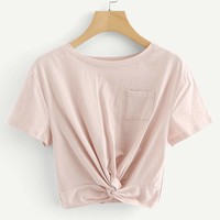 Chest Pocket Random Twist Crop Tee