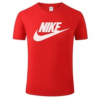 NIKE tide brand men and women loose casual sports half sleeve t-shirt Red